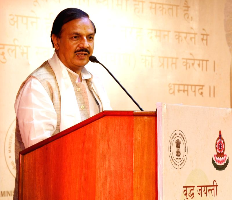 "Union Minister for Culture and Tourism Dr. Mahesh Sharma addresses at ""Buddha Jayanti Celebration 2017"" organised by the Ministry of Culture in New Delhi on May 10, 2017. - Mahesh Sharma"