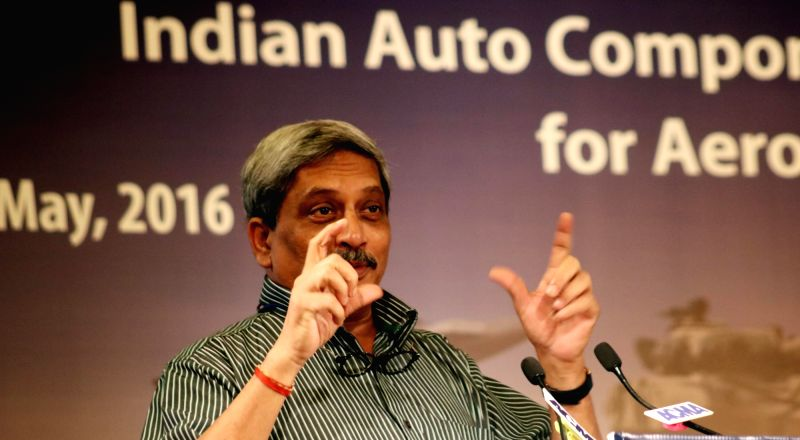 Union Minister for Defence Manohar Parrikar addresses during 2nd Aerospace and Defence Summit on 'Indian Auto Component Industry - Make in India for Aerospace and Defence' in New Delhi on ...