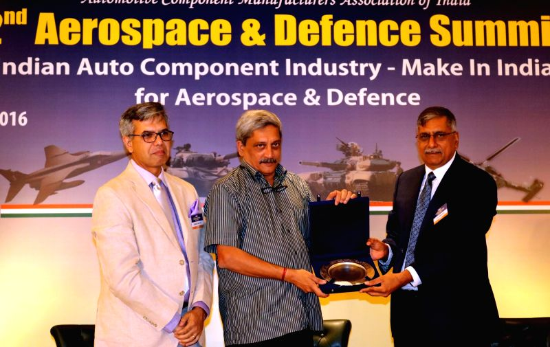 Union Minister for Defence Manohar Parrikar during 2nd Aerospace and Defence Summit on 'Indian Auto Component Industry - Make in India for Aerospace and Defence' in New Delhi on May 14, ...