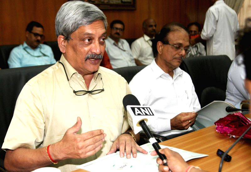 Union Minister for Defence Manohar Parrikar addresses at the release of a booklet titled 'Department of Defence Production in Pursuit of Self Reliance' brought out by the Department of ...
