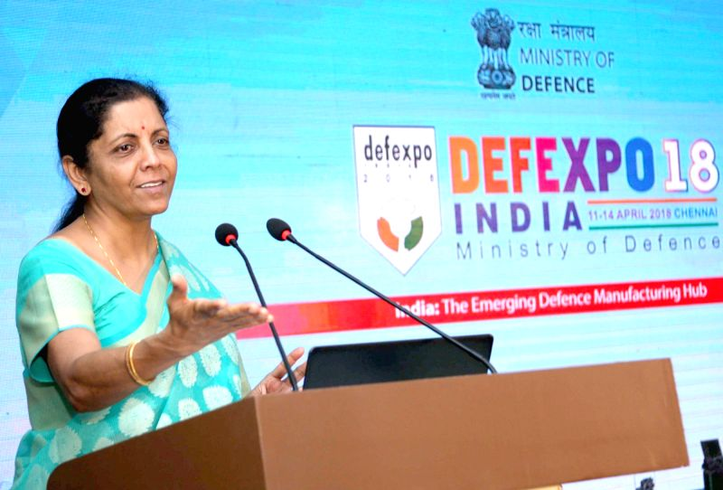 "Union Minister for Defence Nirmala Sitharaman addresses after distributing prizes for National Level Open Challenge Competition ""Solution to Problem: DefExpo 2018"" during ..."