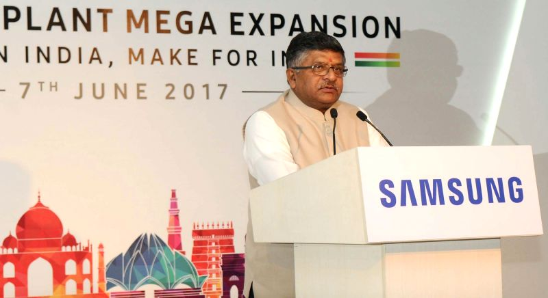 Union Minister for Electronics and Information Technology and Law and Justice Ravi Shankar Prasad addresses at the foundation stone laying ceremony of the Samsung Plant Mega Expansion in ...