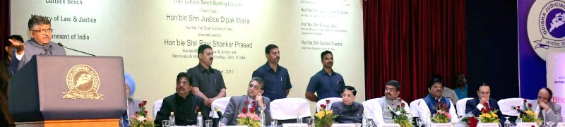 Union Minister for Electronics and Information Technology Ravi Shankar Prasad during the foundation stone laying ceremony for new building complex of the Income Tax Appellate Tribunal, Cuttack Bench, ...