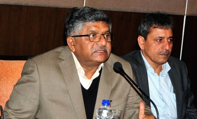 Union Minister for Electronics and Information Technology and Law and Justice Ravi Shankar Prasad addresses a press conference in Guwahati on Feb 2, 2018.
