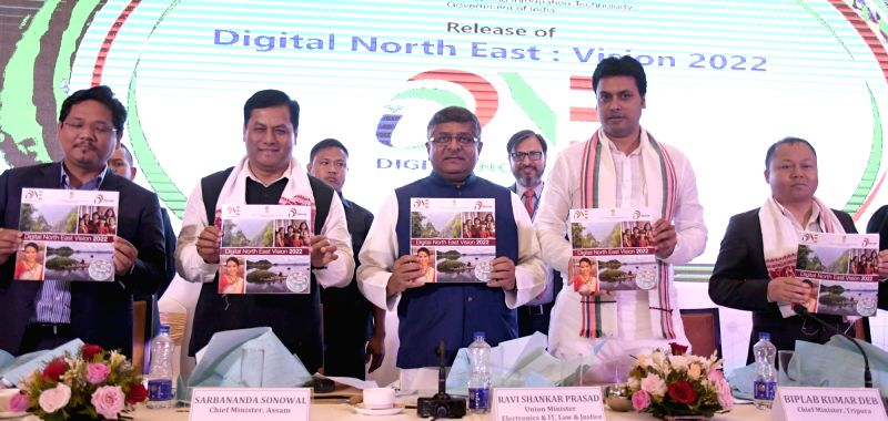 Union Minister for Electronics & Information Technology and Law & Justice Ravi Shankar Prasad release the Vision Document of Digital North East - 2022, at Guwahati on Aug 11, 2018. ... - Sarbananda Sonowal and Biplab Kumar Deb