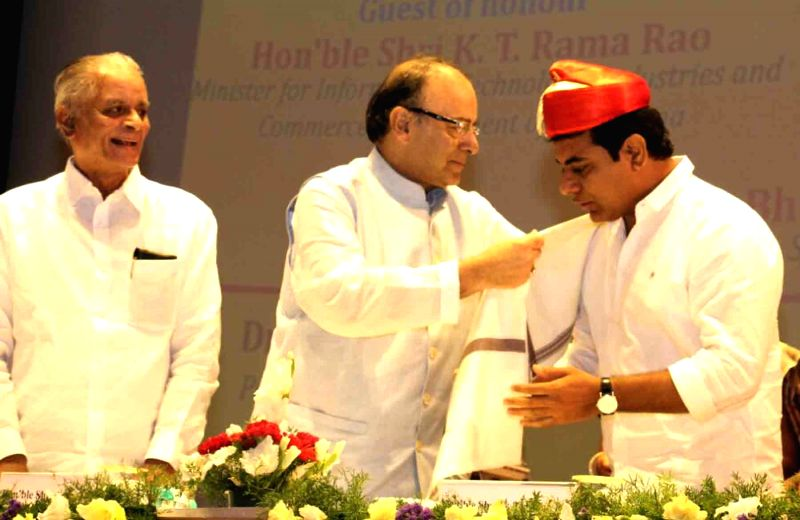 Union Minister for Finance and Corporate Affairs Arun Jaitley and Telangana IT Minister K T Rama Rao during the inauguration of BIOS-IS international University campus Hyderabad on July ... - K T Rama Rao and Affairs Arun Jaitley