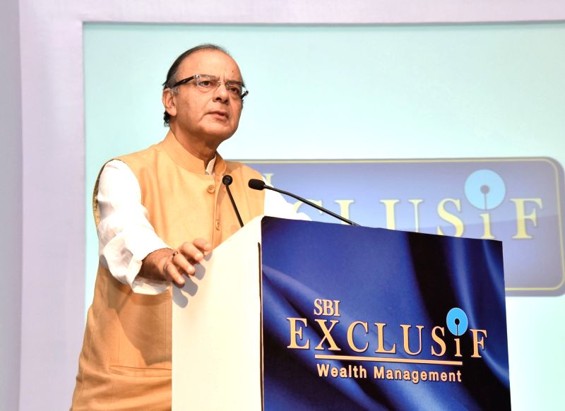 Union Minister for Finance and Corporate Affairs Arun Jaitley addresses at the launch of the SBI's Wealth Management Initiative and unveil SBI Exclusive Services, in New Delhi on July 29, ... - Affairs Arun Jaitley