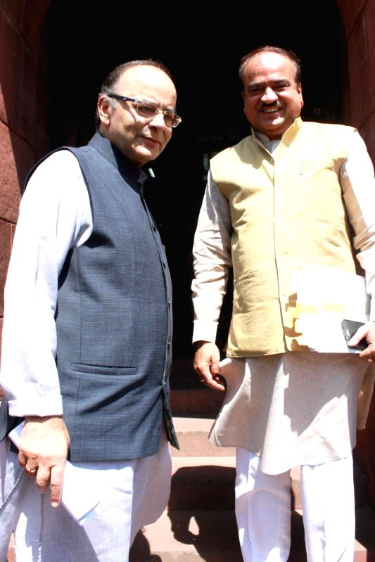 Union Minister for Finance and Corporate Affairs Arun Jaitley and Union Chemicals and Fertilizers Minister Ananth Kumar at Parliament in New Delhi, on Aug 3, 2016. - Ananth Kumar and Affairs Arun Jaitley