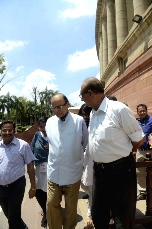 Union Minister for Finance and Corporate Affairs Arun Jaitley at Parliament in New Delhi, on Aug 4, 2016. - Affairs Arun Jaitley