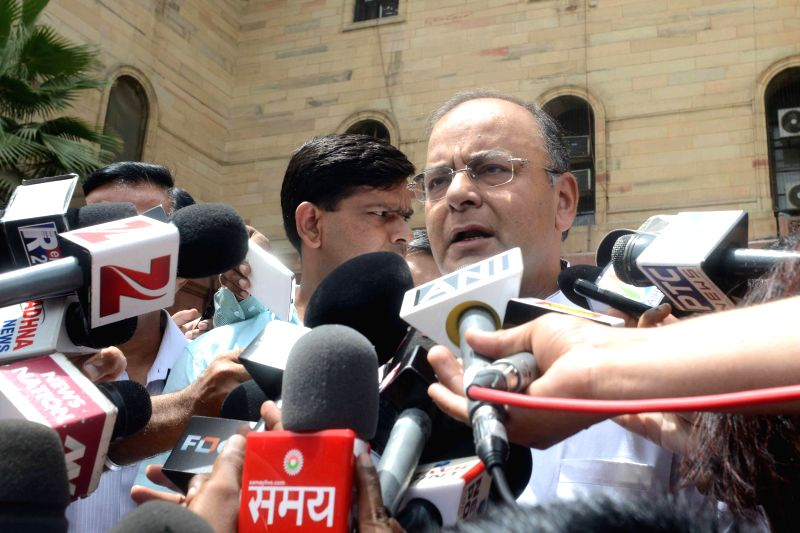 Union Minister for Finance, Corporate Affairs and Defence Arun Jaitley briefs press in New Delhi on June 23, 2014.