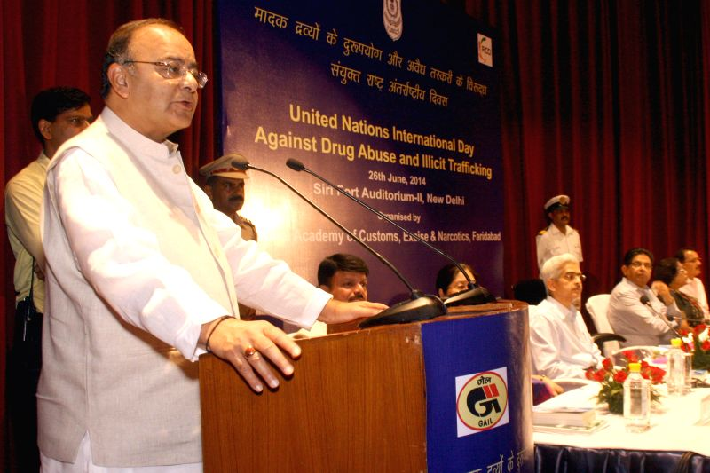 Union Minister for Finance, Corporate Affairs and Defence Arun Jaitley during a programme organised on United Nations' International Day Against Drug Abuse and Illicit Trafficking in New Delhi on ... - Arun Jaitley