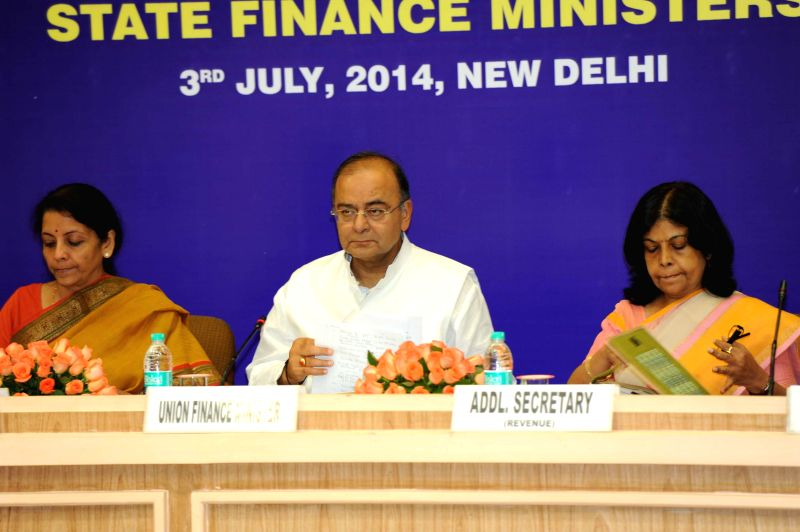Union Minister for Finance, Corporate Affairs and Defence Arun Jaitley and MoS Commerce and Industry (Independent Charge), Finance and Corporate Affairs Nirmala Sitharaman during a meeting with the ..