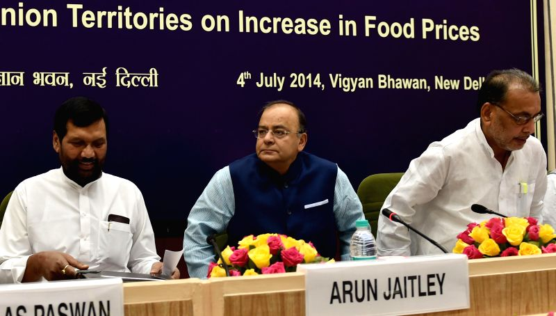 Union Minister for Finance, Corporate Affairs and Defence Arun Jaitley, Union Minister for Consumer Affairs, Food and Public Distribution Ramvilas Paswan and Union Agriculture Minister Radha Mohan ... - Radha Mohan Singh and Arun Jaitley