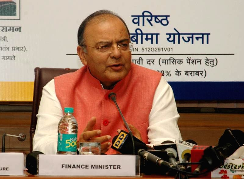 Union Minister for Finance, Corporate Affairs and Defence Arun Jaitley addresses after re-launching the 'Varishtha Pension Bima Yojana (VPBY) at a function in New Delhi on August 14, 2014. - Arun Jaitley