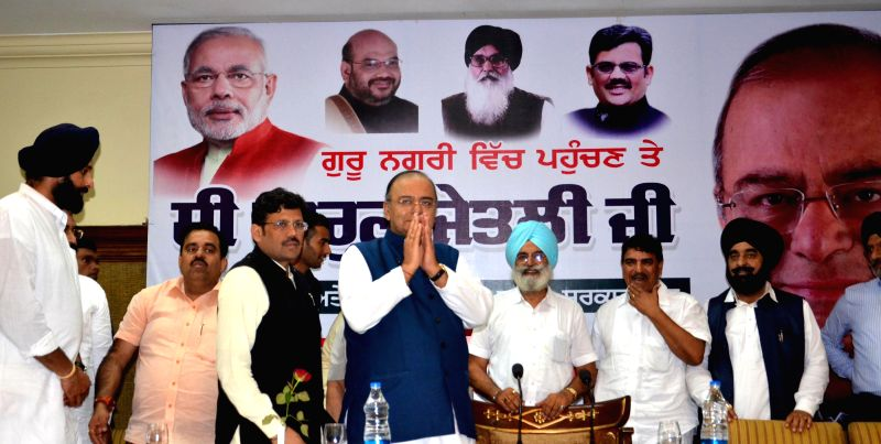 Union Minister for Finance, Corporate Affairs and Defence Arun Jaitley during a BJP-Shiromani Akali Dal  joint meeting in Amritsar on Aug 18, 2014.