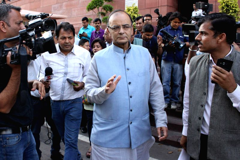 Union Minister for Finance, Corporate Affairs, and Information and Broadcasting Arun Jaitley at the Parliament after Rajya Sabha passed a bill to amend the mines and minerals act in New Delhi, on ...