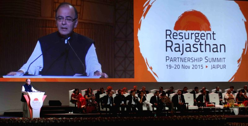 Union Minister for Finance, Corporate Affairs, and Information and Broadcasting Arun Jaitley addresses at Resurgent Rajasthan Partnership Summit - 2015 in Jaipur, on Nov 19, 2015. - Arun Jaitley