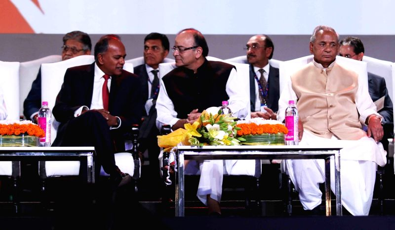 Union Minister for Finance, Corporate Affairs, and Information and Broadcasting Arun Jaitley with Rajasthan Governor Kalyan Singh and other dignitaries  at Resurgent Rajasthan Partnership ... - Arun Jaitley and Kalyan Singh