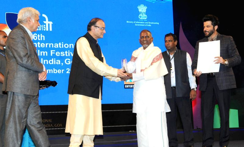 Union Minister for Finance, Corporate Affairs and Information & Broadcasting, Arun Jaitley presents the centenary award to Music Maestro Ilayaraja, at the inauguration of the 46th ... - Anil Kapoor, Arun Jaitley and Sunil Arora