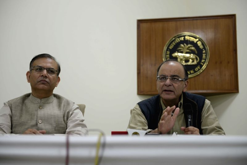 Union Minister for Finance, Corporate Affairs, and Information and Broadcasting Arun Jaitley brief the press after meeting with the Chairmen and Managing Directors of Public Sector Banks ... - Jayant Sinha