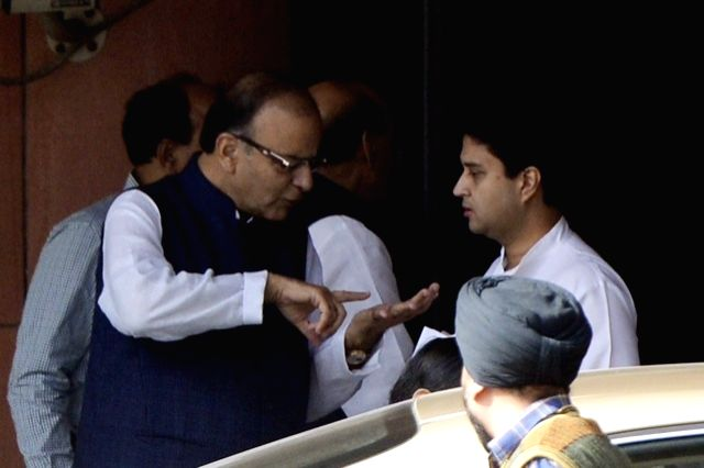 Union Minister for Finance, Corporate Affairs, and Information and Broadcasting Arun Jaitley with Jyotiraditya Scindia after the all party meeting  on Nov 25, 2015. - Arun Jaitley