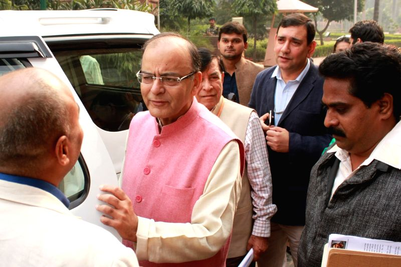 Union Minister for Finance, Corporate Affairs, and Information and Broadcasting Arun Jaitley at the Parliament in New Delhi, on Nov 27, 2015.