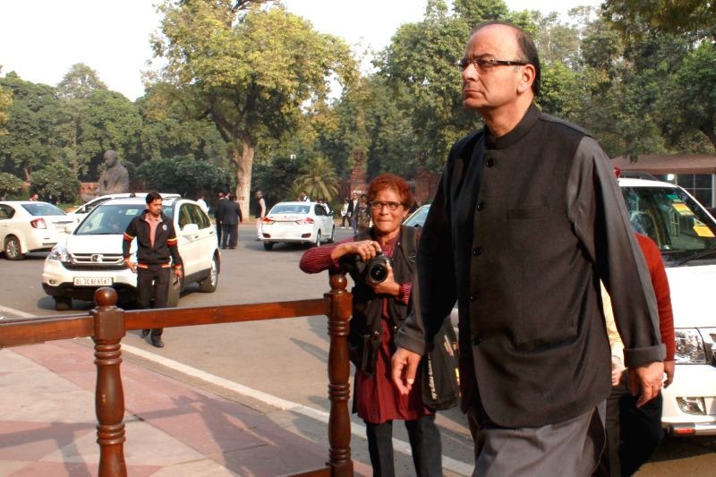 Union Minister for Finance, Corporate Affairs, and Information and Broadcasting Arun Jaitley arrives at the Parliament House in New Delhi, on Dec 8, 2015. - Arun Jaitley
