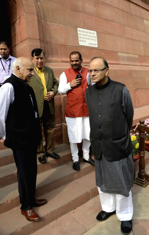 Union Minister for Finance, Corporate Affairs, and Information and Broadcasting Arun Jaitley at the Parliament House in New Delhi, on Dec 8, 2015. - Arun Jaitley