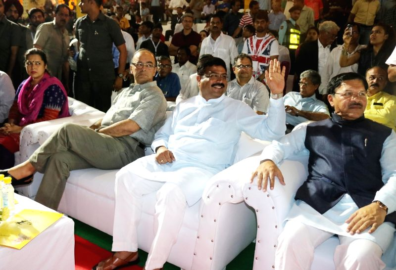 Union Minister for Finance, Corporate Affairs, and Information and Broadcasting Arun Jaitley and Union Petroleum and Natural Gas Minister Dharmendra Pradhan during GAIL-Indian Speedstar - ... - Dharmendra Pradhan and Arun Jaitley