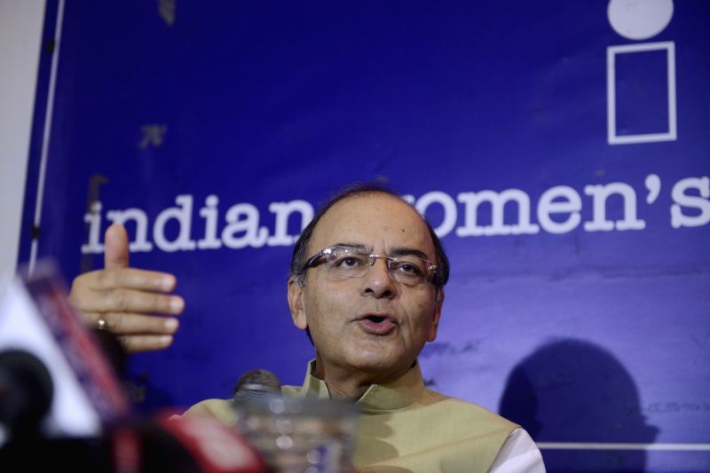 Union Minister for Finance, Corporate Affairs, and Information and Broadcasting Arun Jaitley addresses a press conference at Indian Women's Press Corps in New Delhi, on May 16, 2016. - Arun Jaitley