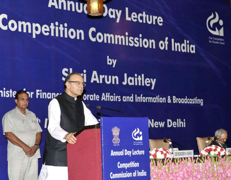 Union Minister for Finance, Corporate Affairs and Information and Broadcasting Arun Jaitley addresses during the Annual Day Lecture, organised by the Competition Commission of India (CCI) ... - Arun Jaitley