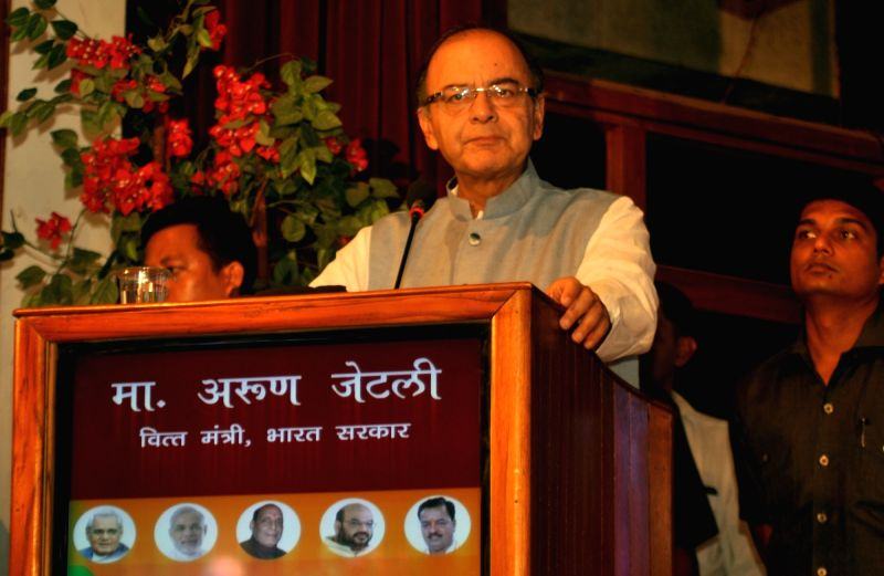 Union Minister for Finance, Corporate Affairs, and Information and Broadcasting Arun Jaitley addresses during a BJP programme organised to celebrate two years of Narendra Modi government in ... - Narendra Modi and Arun Jaitley