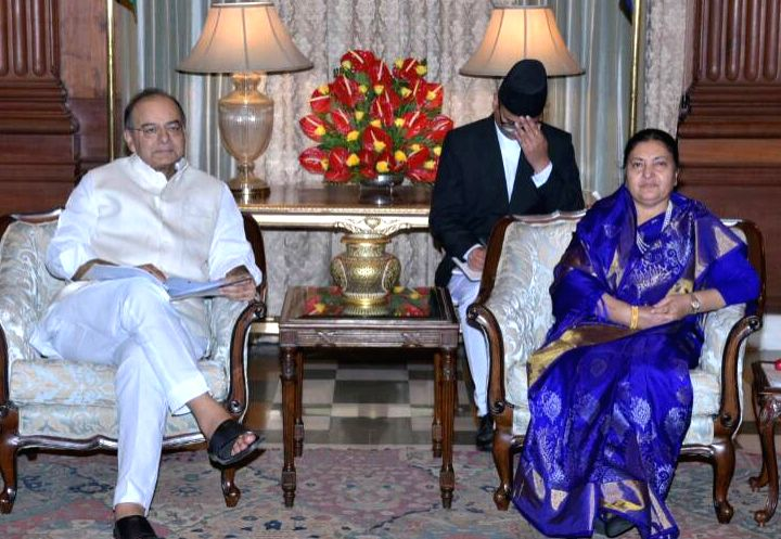 Union Minister for Finance, Corporate Affairs and Defence Arun Jaitley calls on Nepal President Bidya Devi Bhandari in New Delhi, in Delhi on April 18, 2017. - Arun Jaitley