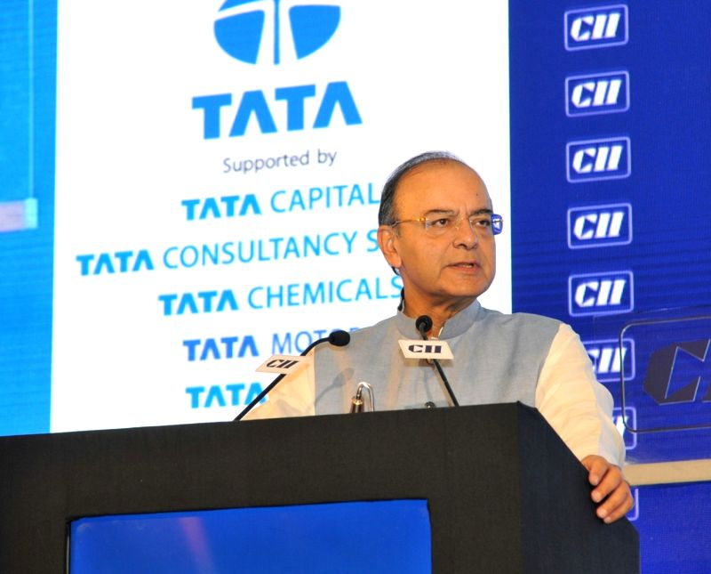 Union Minister for Finance, Corporate Affairs and Defence Arun Jaitley  delivering the inaugural address at the CII Annual Session, in New Delhi on April 28, 2017. - Arun Jaitley