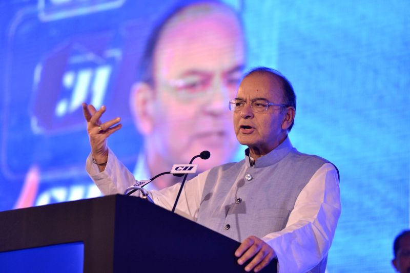 Union Minister for Finance, Corporate Affairs and Defence, Arun Jaitley delivering the inaugural address at CII Annual Session in New Delhi on April 28, 2017. - Arun Jaitley
