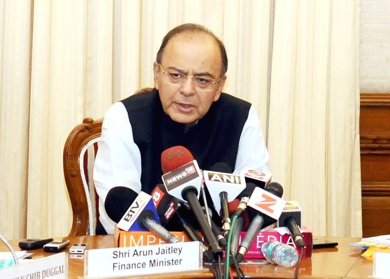 Union Minister for Finance, Corporate Affairs and Defence Arun Jaitley addresses a press conference on the NPA Ordinance in New Delhi on May 5, 2017. - Arun Jaitley