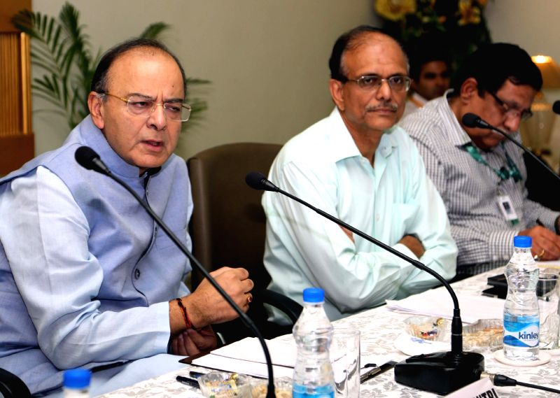 Union Minister for Finance, Corporate Affairs and Defence Arun Jaitley chairs an interactive meeting on strategic partnerships with the industry representatives, in New Delhi on May 11, ... - Arun Jaitley