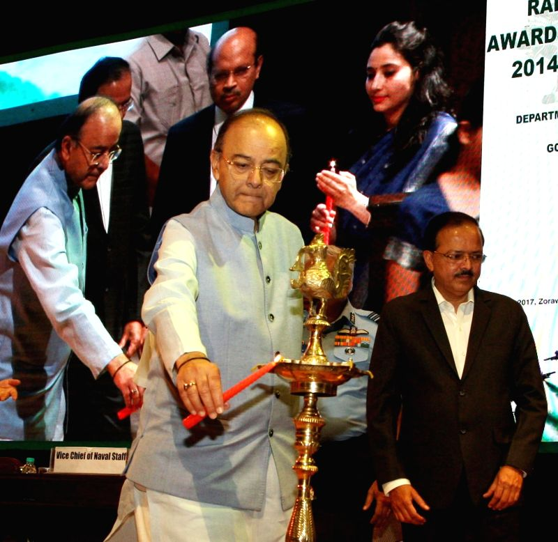 Union Minister for Finance, Corporate Affairs and Defence Arun Jaitley at the Raksha Mantri's Awards function for Excellence for the years 2014-15 and 2015-16, in New Delhi on May 30, ... - Arun Jaitley
