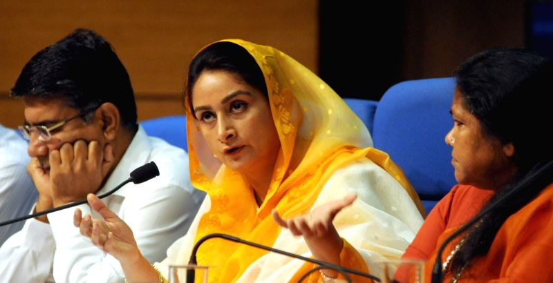 Union Minister for Food Processing Industries Harsimrat Kaur Badal addressing a press conference regarding the achievements of Ministry of Food Processing Industries during the last two ...