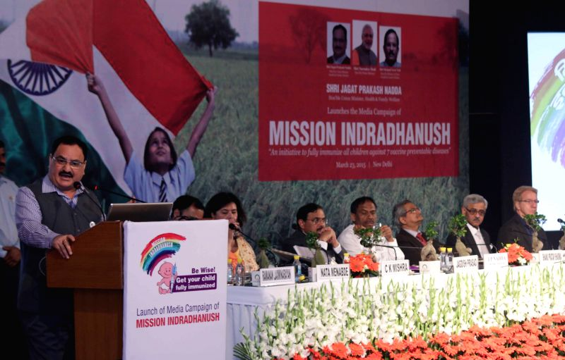 Union Minister for Health and Family Welfare Jagat Prakash Nadda addresses during a programme organised to launch the Media Campaign of `Mission Indradhanush` in New Delhi, on March 23, 2015.