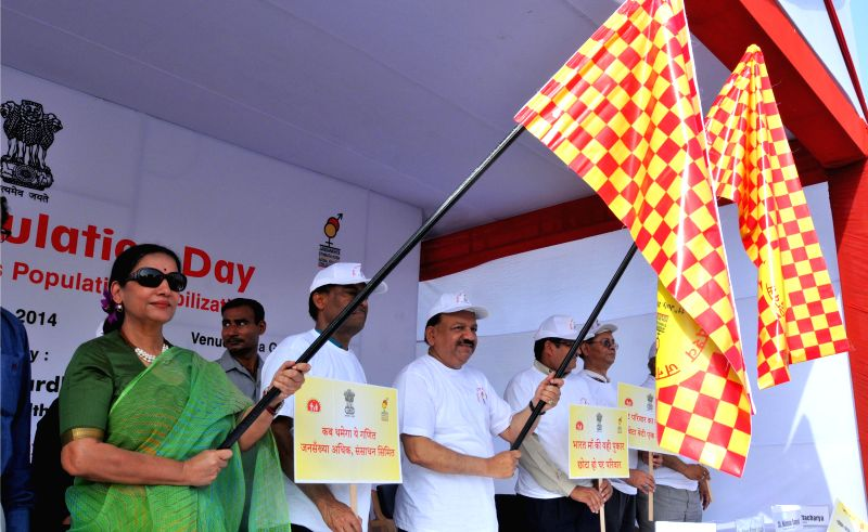 Union Minister for Health and Family Welfare Dr. Harsh Vardhan and actress Shabana Azmi flag-off `Walkathon for Population Stabilization` on World Population Day in New Delhi on July 11, 2014. - Shabana Azmi
