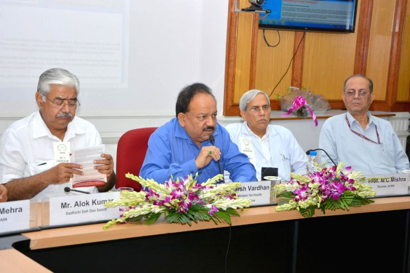 "Union Minister for Health and Family Welfare Dr. Harsh Vardhan addresses at the launch of the first ""Asian Indian Donor Marrow Registry"", at AIIMS, in New Delhi on August 06, 2014. The DG, ICMR .."