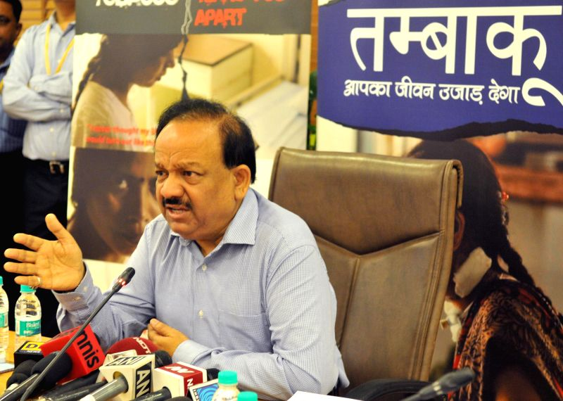Union Minister for Health and Family Welfare Dr. Harsh Vardhan at the launch of the Public Service Advertisement titled `SUNITA` and the `Resource Website` under the National Tobacco Control ...