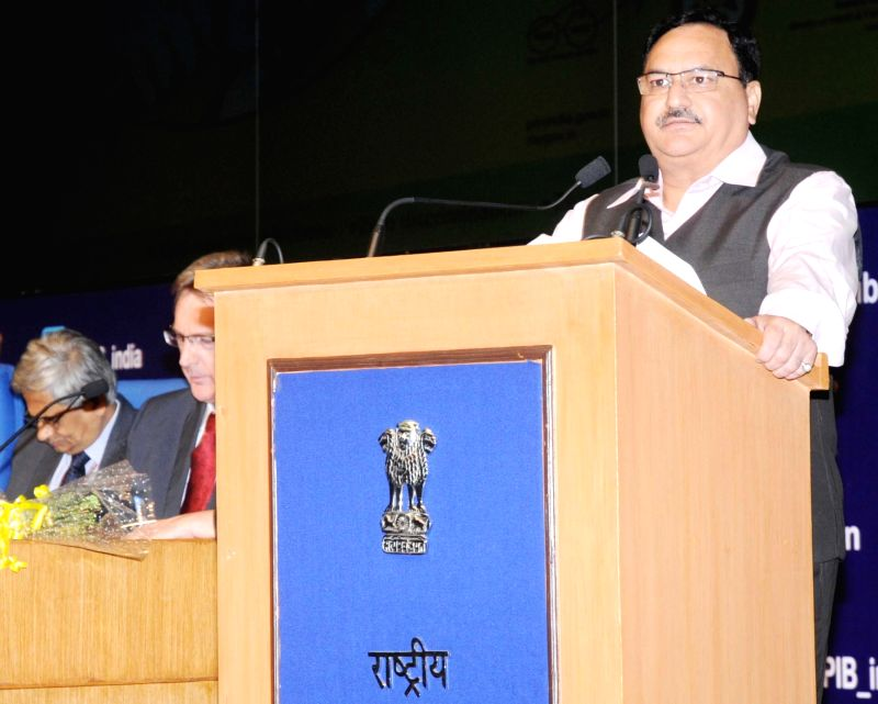Union Minister for Health and Family Welfare J.P. Nadda addresses during a function on the occasion of World AIDS Day, 2015, organised by the National AIDS Control Organisation (NACO), ...