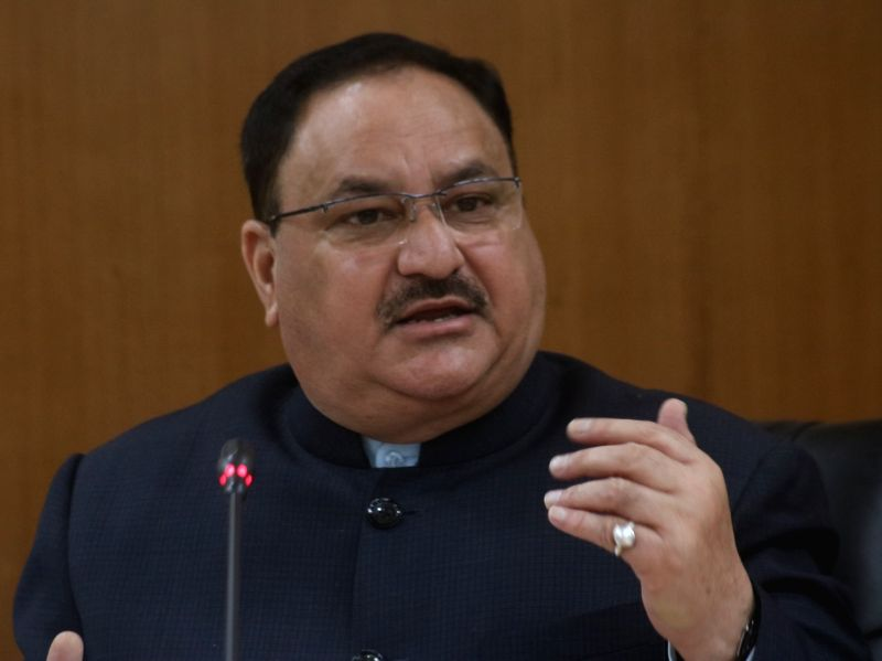 Union Minister for Health and Family Welfare J.P. Nadda addresses a press conference in New Delhi on Feb 2, 2018.