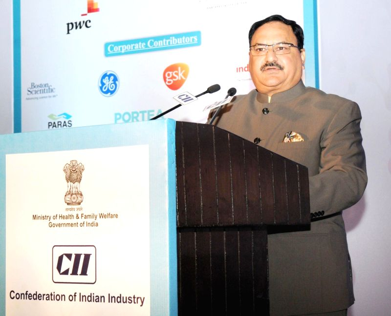 Union Minister for Health and Family Welfare JP Nadda addresses the 12th India Health Summit, organised by the CII, in New Delhi on Dec 10, 2015.