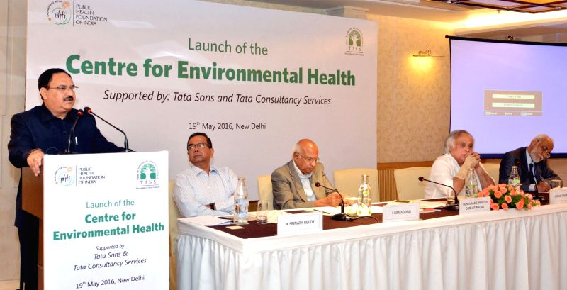 Union Minister for Health and Family Welfare JP Nadda addresses at the launch of the PFHI's Centre for Environmental Health, in New Delhi on May 19, 2016.