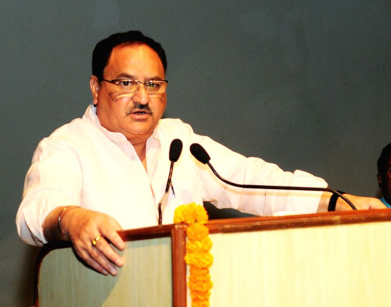 Union Minister for Health and Family Welfare JP Nadda addresses at the inauguration of the National Dengue Day function at AIIMS in New Delhi on May 16, 2017.