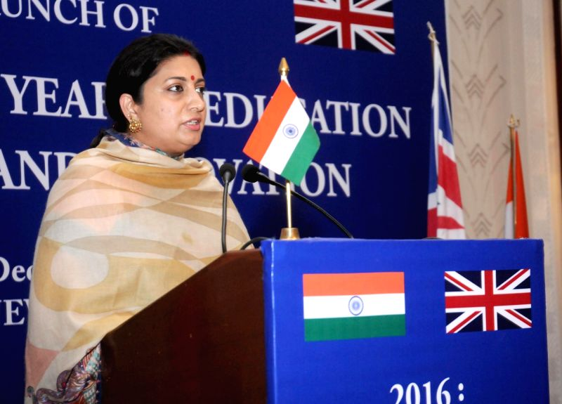 Union Minister for Human Resource Development Smriti Irani addresses at the launch of the 2016: UK-INDIA Year of Education, Research and Innovation, at a function, in New Delhi on Dec 9, ...
