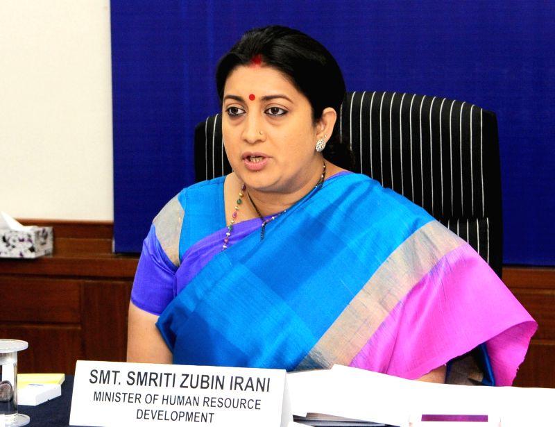 Union Minister for Human Resource Development Smriti Irani addresses after launching projects under the Rashtriya Uchchatar Shiksha Abhiyan (RUSA), in New Delhi on June 3, 2016.